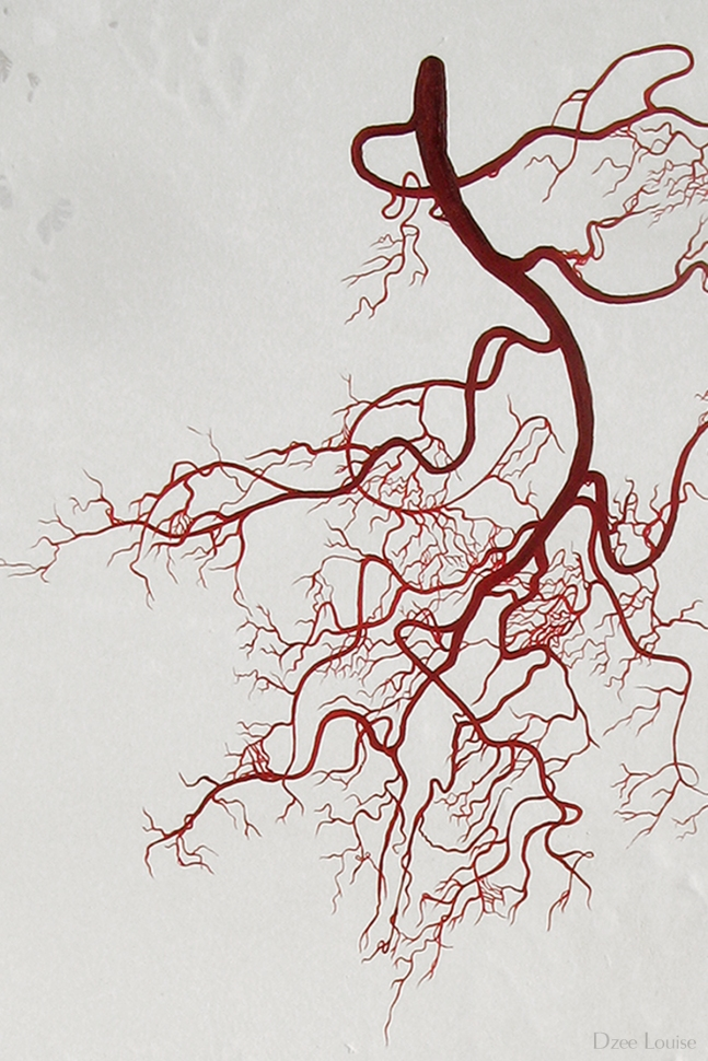 Liaison 3 (detail), oil on panel, arteries, branches, figure