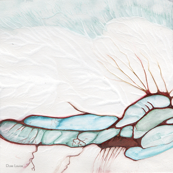 Moment 23, abstract sketch, mixed media on paper, arteries, organs