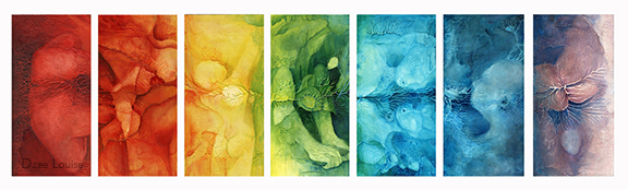 Stretch - acrylic on canvas - chakras - rainbow - 7 panels at 12 x 48 inches each