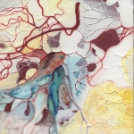 Moments II-20, mixed media on wood panel, abstract figurative painting, arteries, yellow, red, blue