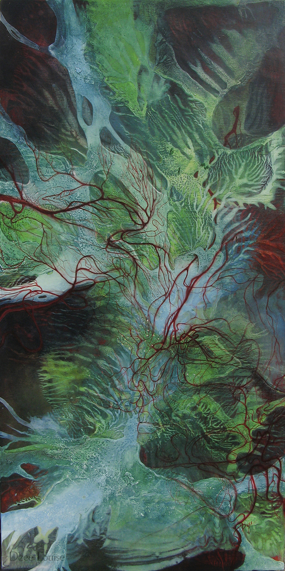 A little bird told me to (red and green) - acrylic and watercolour on wood panel - 12 x 24 inches - SOLD