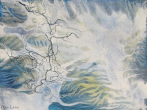 Air (ALBTM - detail) - mixed media on wood panel - 12 x 24 inches