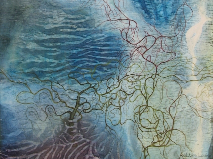 Water (ALBTM - detail) - mixed media on wood panel - 12 x 24 inches