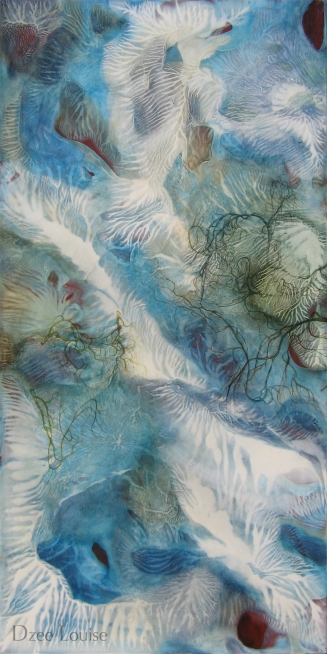 Grace - mixed media on wood panel - 24x48 inches