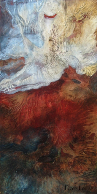Rise - mixed media on wood panel - 24 x 48 inches