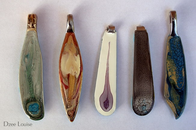 Pendants, butter knife sample, sage, rust, aubergine, charcoal, blue
