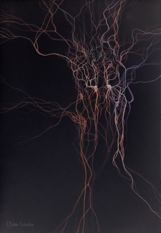 Evoke , archival pigment print, neurons, figures facing each other