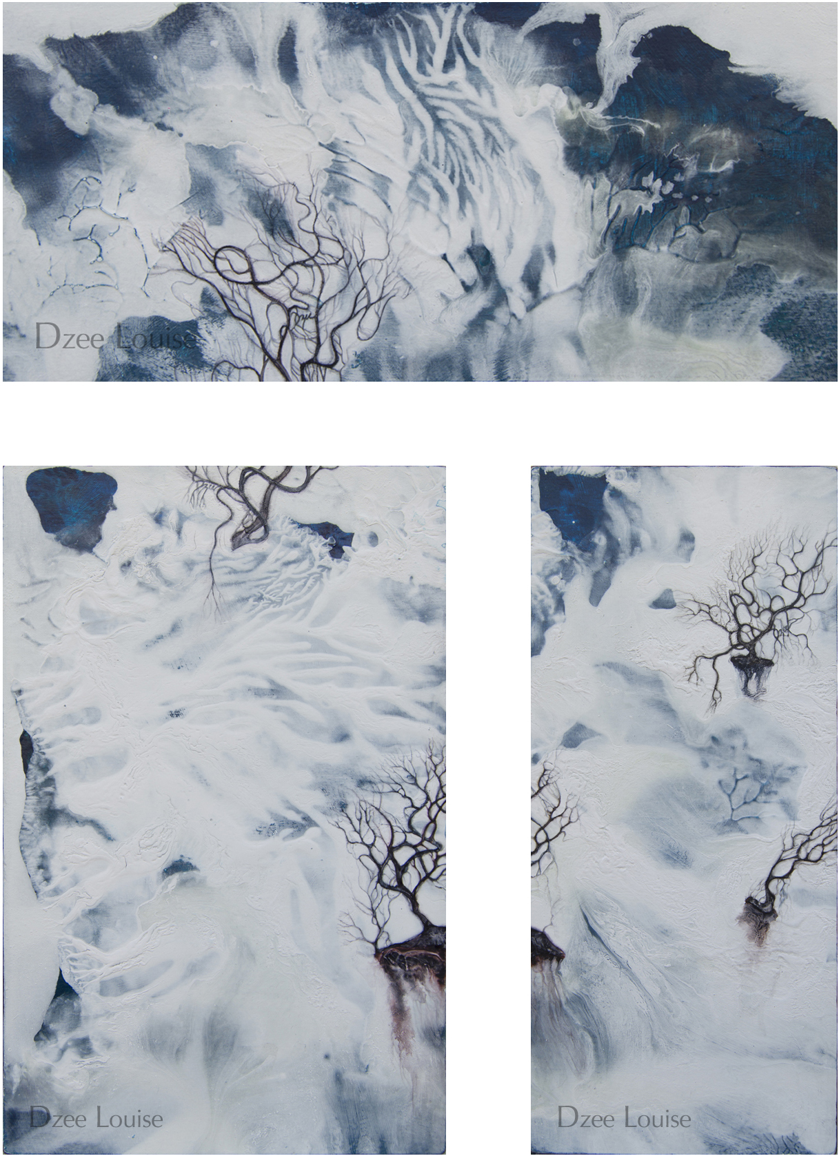 Moment II 23 Triptych - acrylic and watercolour on wood panel, White and blue ground with three floating tree and root forms in burnt umber