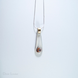 Handle Pendant #13, White and Bronze Side