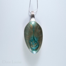Medium Spoon Pendant #01, Teal burst on green and bronze