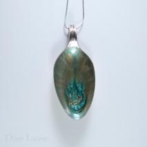 Medium Spoon Pendant #01, Teal burst on green and bronze
