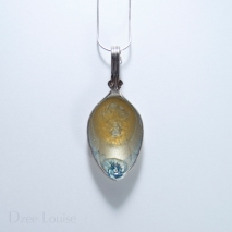Small Spoon Pendant #02, Golden sunburst on silver