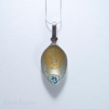 Small Spoon Pendant #02, Golden sunburst on silver