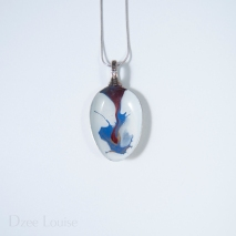 Small Spoon Pendant #07, Blue and red splash on white (SOLD)