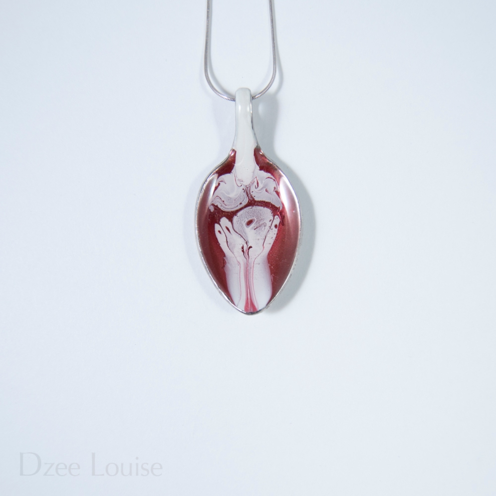 Small Spoon Pendant #12, white seaform on red (SOLD)
