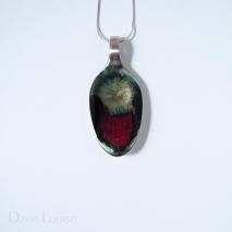 Small Spoon #17, green burst over red and black