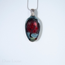 Small Spoon Pendant #18, Tree red floral (SOLD)