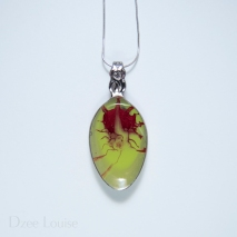 Small Spoon Pendant #22, Lime green with red spider burst (SOLD)