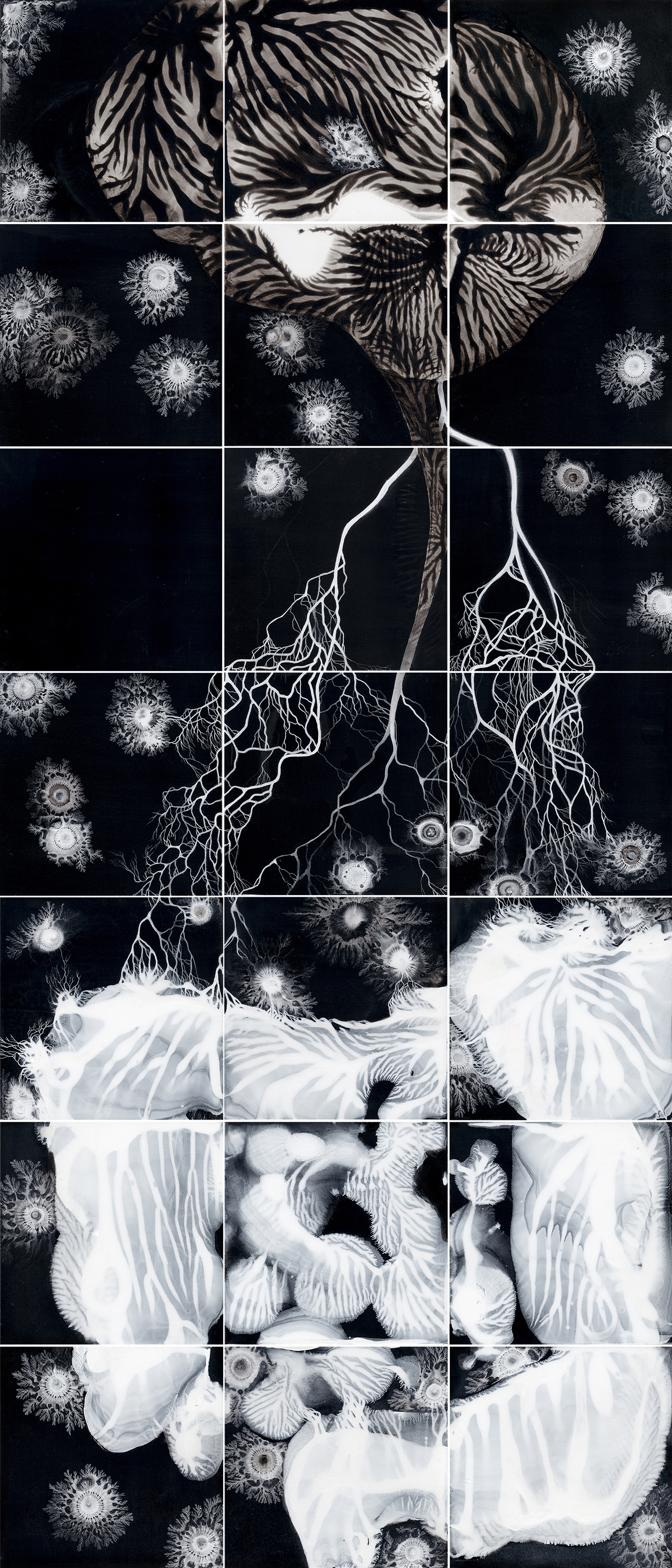 Puzzle Painting, Title: Crossing, black and white image of a brain and gut connected by the vagus nerve